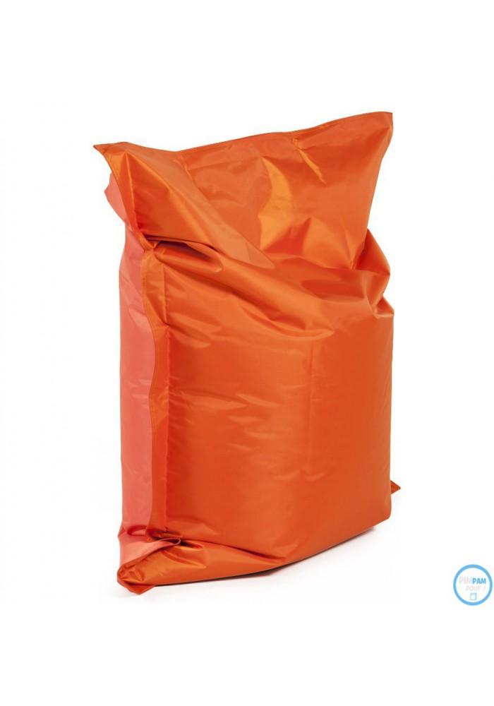 pouf poire à billes orange à petit prix. coloris tissu pour