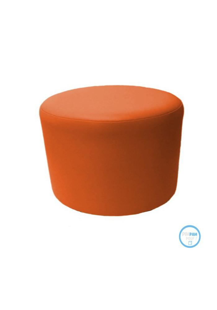 pouf rond 60 cm en simili cuir coloris personnalisable. Black Bedroom Furniture Sets. Home Design Ideas