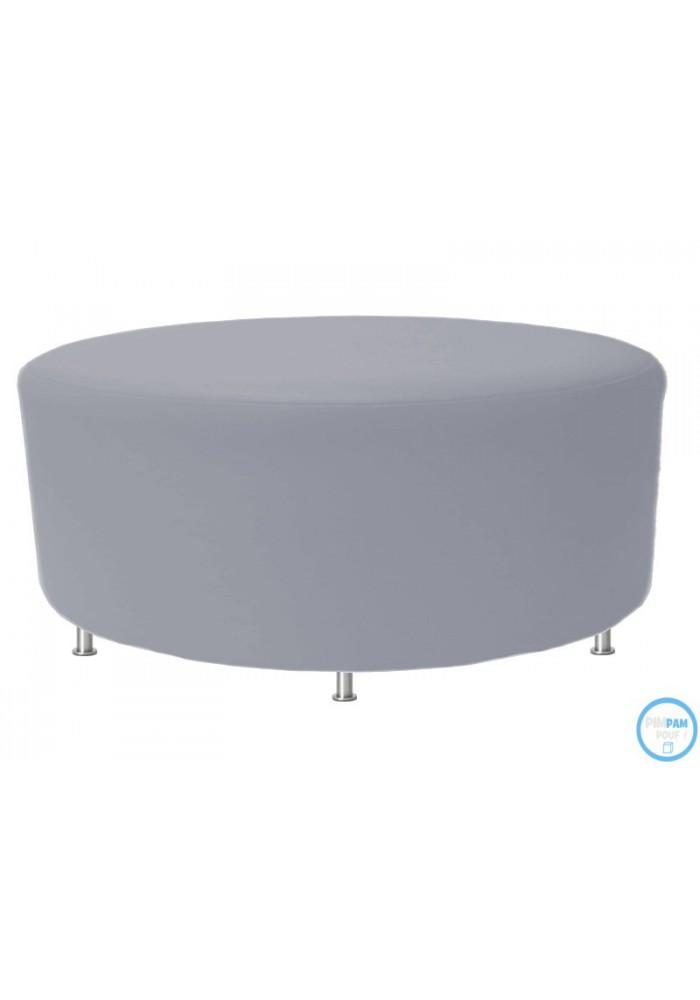 pouf rond 100 cm en simili cuir et pied inox coloris. Black Bedroom Furniture Sets. Home Design Ideas